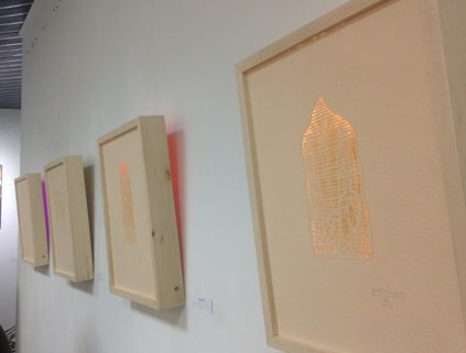 illuminated engravings - paper, wooden frame, electronic installation, 42x30 cm - 1000eur